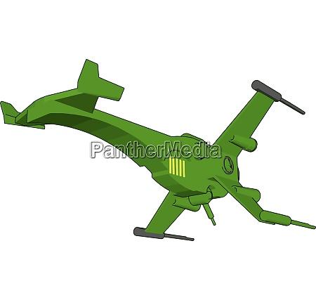 green fantasy battle cruiser vector illustration
