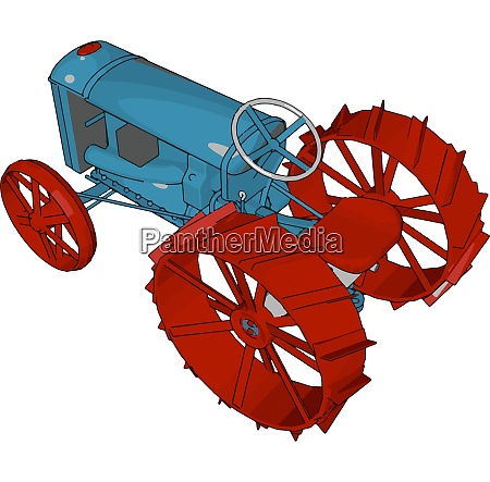 blue and red tractor vector illustration