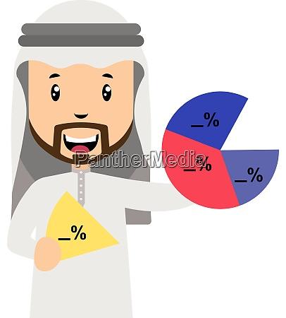 arab with analytics illustration vector on