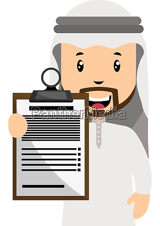 arab with schedule illustration vector on