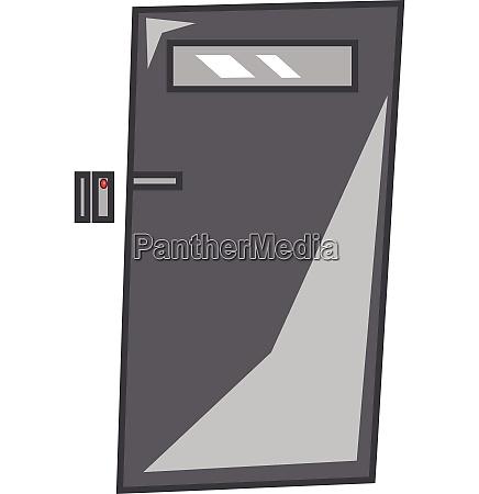 a grey metal door with digital