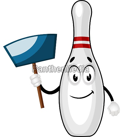 bowling pin with dust pan illustration