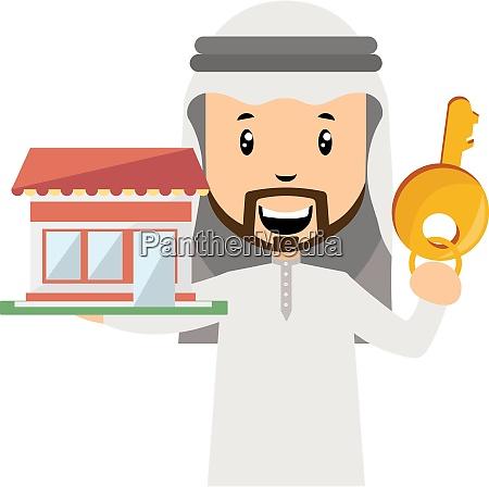 arab with big key illustration vector