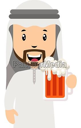 arabisch mit bier illustration vektor auf