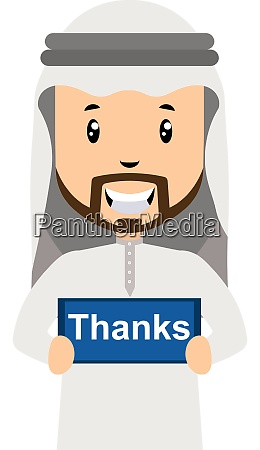 arab with thanks sign illustration vector