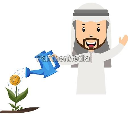 arab watering flower illustration vector on