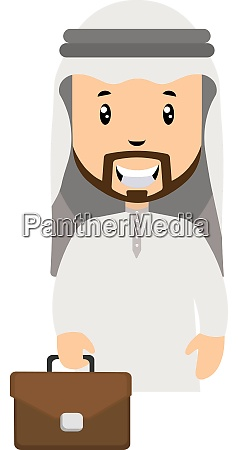 arab with suitcase illustration vector on