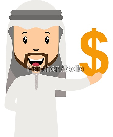 arab with dollar sign illustration vector