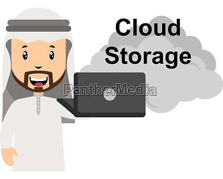 arab using cloud storage illustration vector