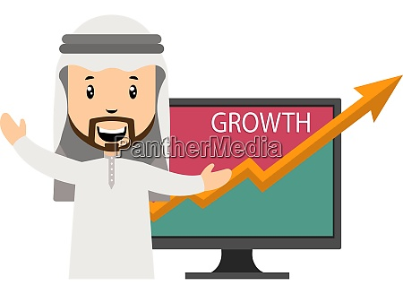 arab with growth illustration vector on