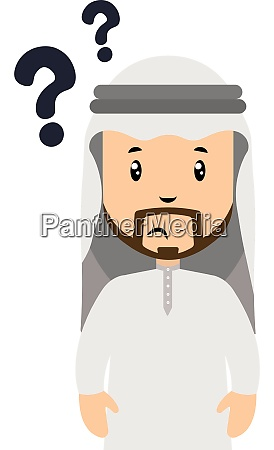 arab with question marks illustration vector