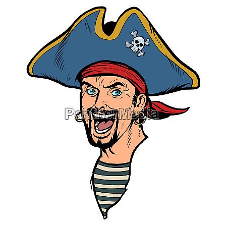 ein mann piraten karnevalskostuem mit hut