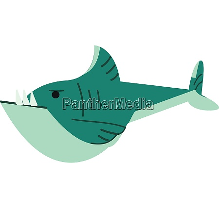 a blue shark swimming underwater vector