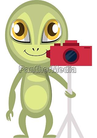 alien with camera illustration vector on