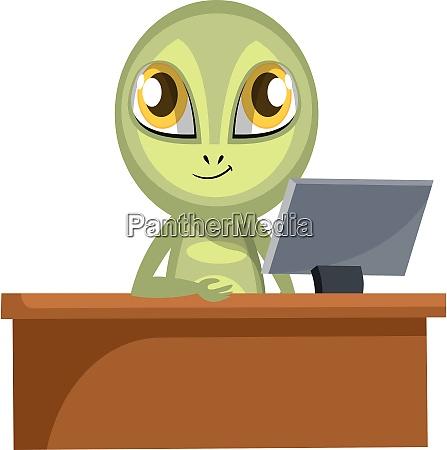alien sitting at the office illustration