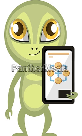 alien with cellphone illustration vector on