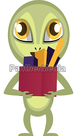 alien with stuff in box illustration