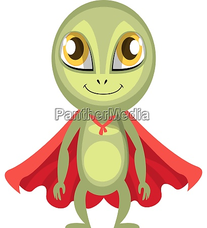 alien with red cape illustration vector
