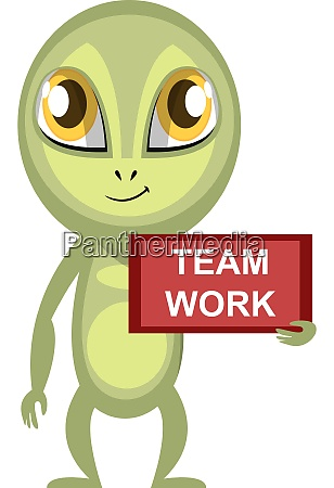 alien with team work sign illustration