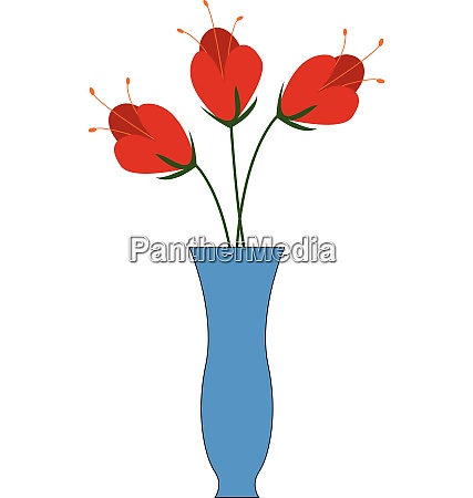 three red flowers in a blue