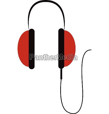 simple big red headphones vector illustration