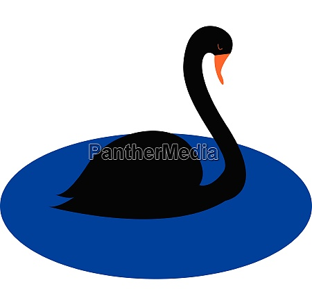 simple cartoon black swan vector illustration
