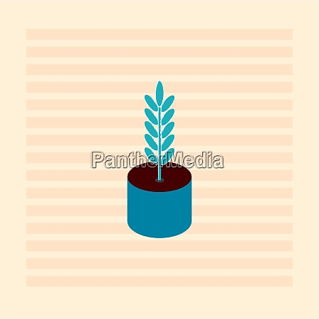 blue plant in blue pot illustration