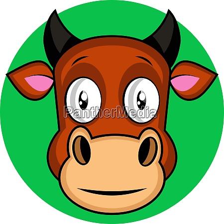 cartoon brown cow vector illustration on