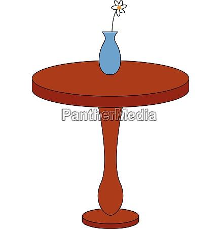 einfache, runde, braune, tisch, mit, einer - 27496193