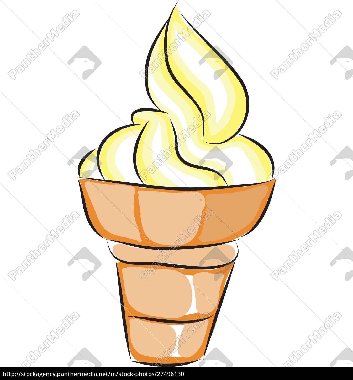 gelbes, und, weißes, eis, in, einem - 27496130