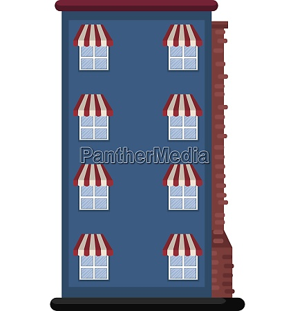cartoon blue building vector illustartion on