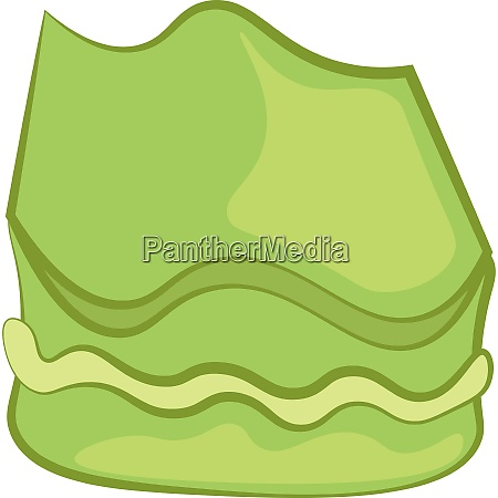 green colored cartoon mochi cake vector