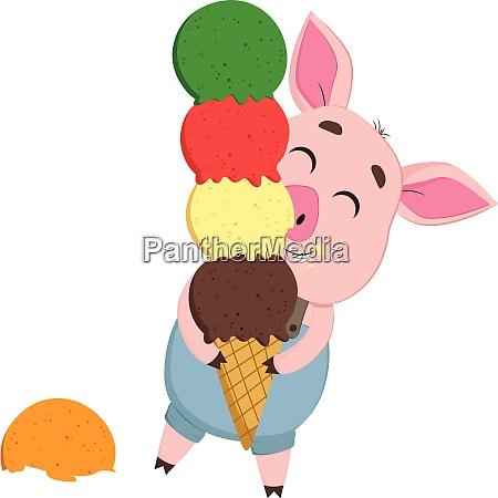 a cute little cartoon pig enjoying