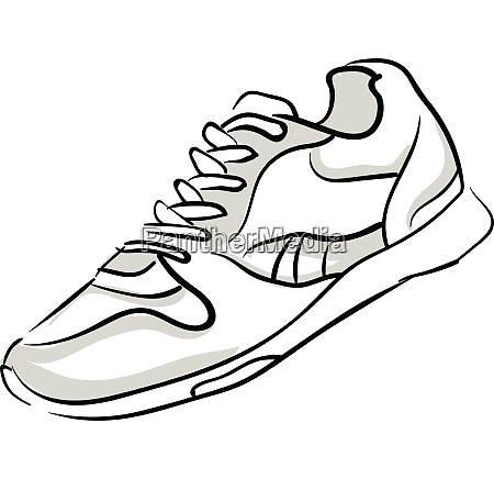 a single shoe with tied white