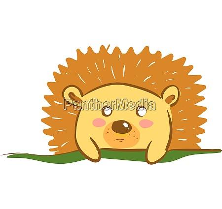a shy brown colored cartoon hedgehog