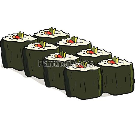 clipart of eight vegan sushi vector