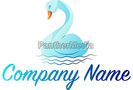 light blue swan simple logo vector