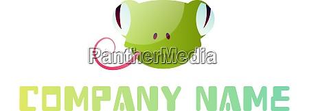 cute green frog head simple logo