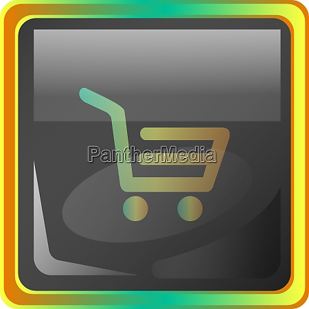 cart grey square vector icon illustration