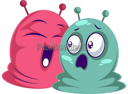 pink happy monster and blue scared