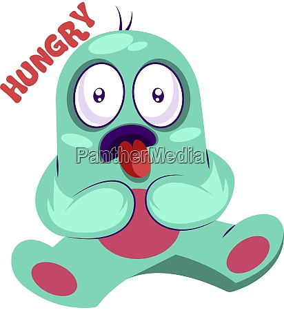 hungry blue monster vector illustration on