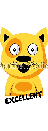 smilling yellow cat saying excellent vector