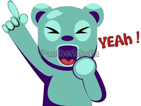 joyful blue bear holding hand up