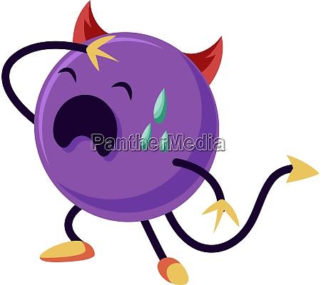 sad purple monster screaming vector illustration