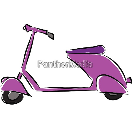 purple scooter illustration vector on white