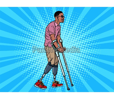 legless african veteran with a bionic