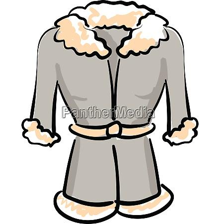 a grey winter coat vector or
