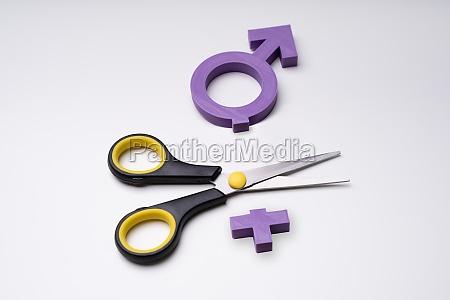 transgender ikone geteilt mit schere ueber