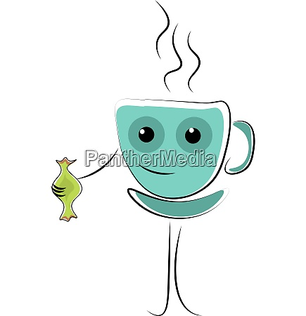 emoji blue coffee cup holding a