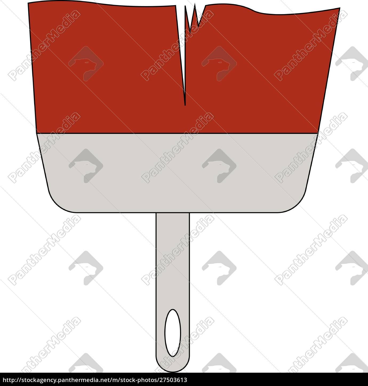 ein, großer, roter, farbpinsel, zum, malen - 27503613